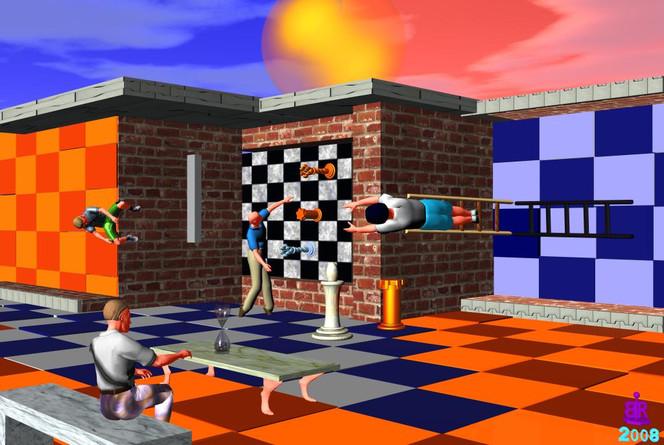 Gebäude, Menschen, Schachfiguren, Spieler, Tisch, Digitale kunst