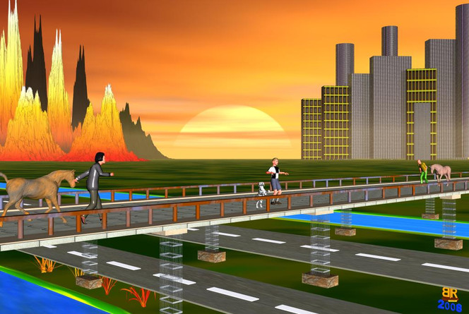 Brücke, Menschen, Pferde, Straße, Digitale kunst, Surreal