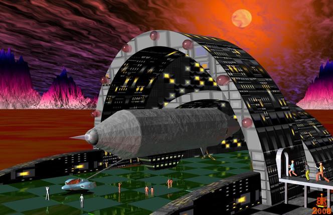 Bahnhof, Universum, Zeppelin, Sonne, Digitale kunst, Surreal