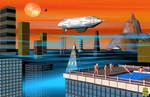 Hochhaus, Menschen, Akt, Zeppelin