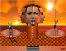 Gesicht, Leiter, Sonne, Digitale kunst