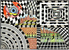 Tusche, Buntstiftzeichnung, Zeichnungen, Abstrakt