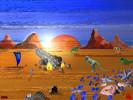 Landschaft, Dinosaurier, Raumschiff, Stadt