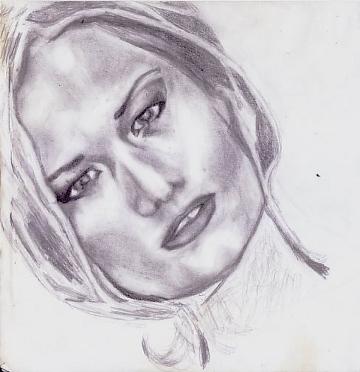 Bleistiftzeichnung, Frau, Portrait, Zeichnung, Zeichnungen, Model