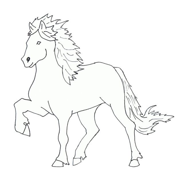Pferde, Isländer, Linie, Pony, Zeichnungen,