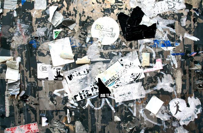 Papierschnipsel, Aufgeklebt, Werbetafel, Fotografie