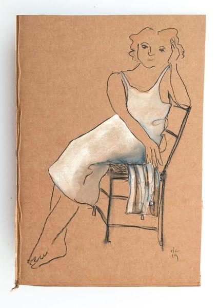 Stuhl, Sitzen, Frau, Zeichnungen, Abwarten