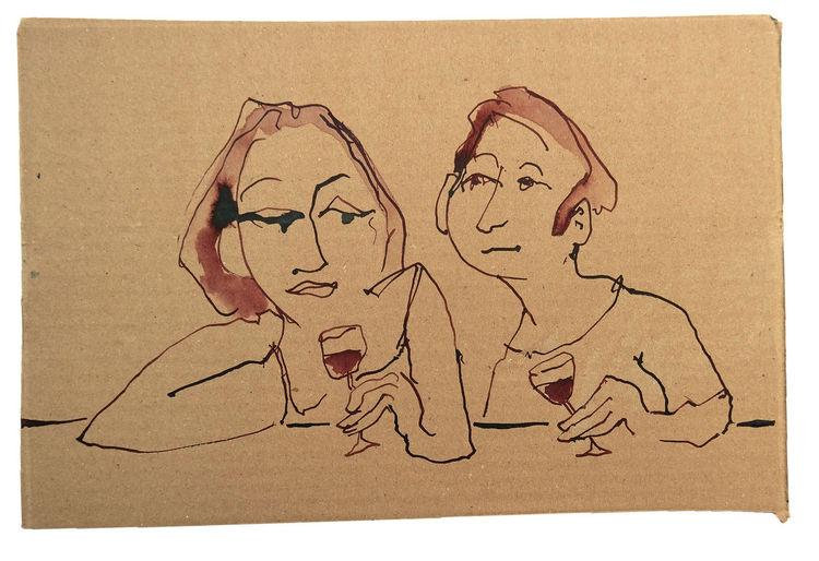 Tresen, Paar, Rotwein, Flirt, Zeichnungen
