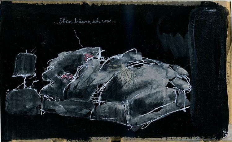 Bett, Nacht, Traum, Zeichnungen