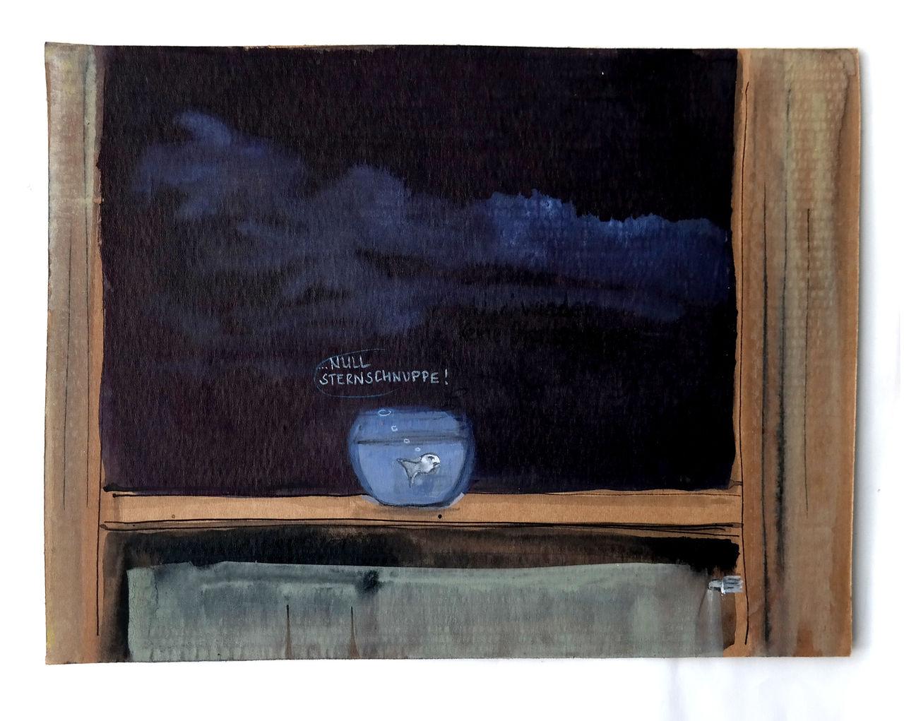 bild goldfisch fenster nacht vorhang von victor koch. Black Bedroom Furniture Sets. Home Design Ideas