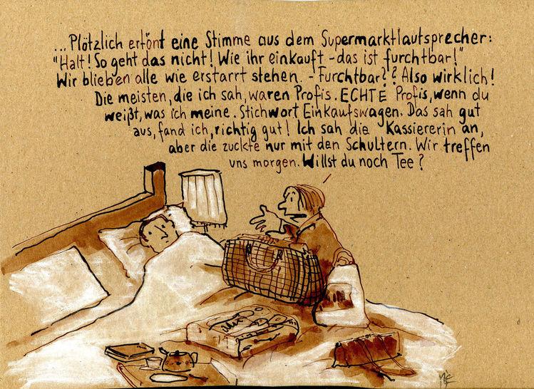 Frau, Krankheit, Bett, Zeichnungen