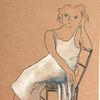 Frau, Stuhl, Sitzen, Zeichnungen