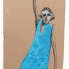 Frau, Kleid, Blau, Zeichnungen