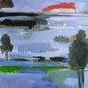 See, Haus, Landschaft, Malerei