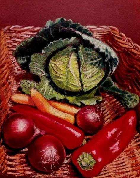 Korb, Paprika, Zwiebeln, Wirsing, Gemüse, Karotte