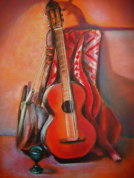Schatten, Musikinstrument, Glas, Absinth, Gitarre, Türkis