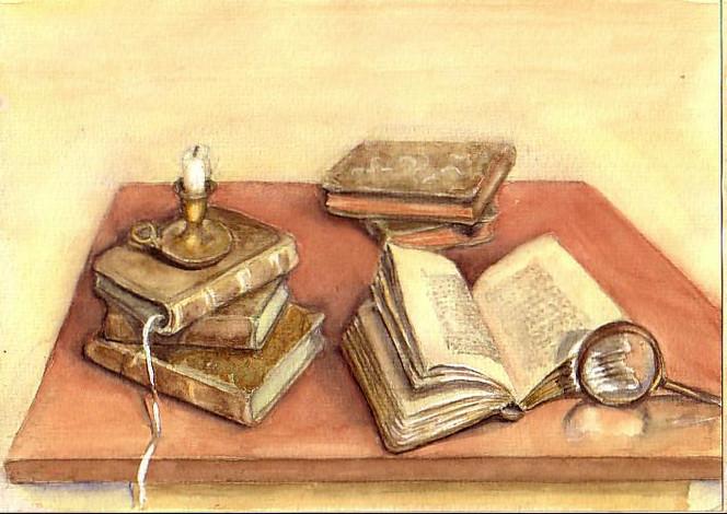 Kerzen, Lupe, Buch, Alt, Aquarell