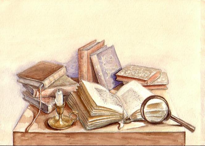 Kerzen, Buch, Alt, Lupe, Aquarell