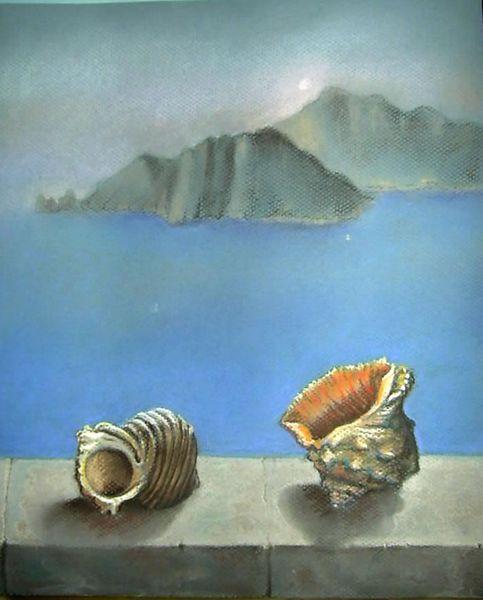 Insel, Meer, Muschel, Malerei, Morgen