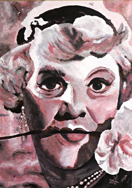 Acrylmalerei, Monochrom, Portrait, Lemmon, Perücke, Rose