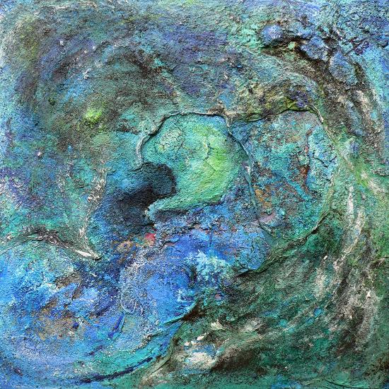 Seiltanz, Acrylmalerei, Struktur, Blau, Lagune, Insel