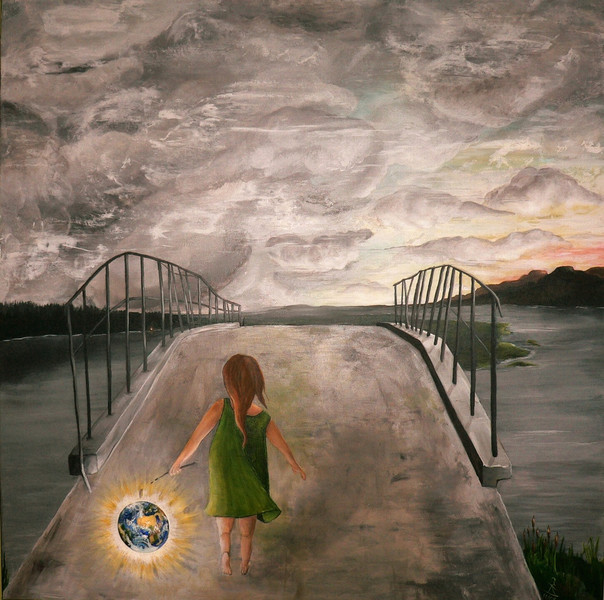 Acrylmalerei, Mädchen, Erde, Himmel, Natur, Hoffnung