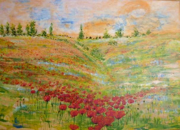 Ölmalerei, Licht pur, Am berg, Blumenwiese, Malerei, Haus