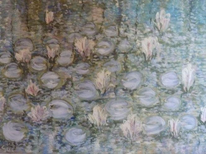 Ölmalerei, Nach monet, Kleine malschule, Malerei, Surreal, Seerosen