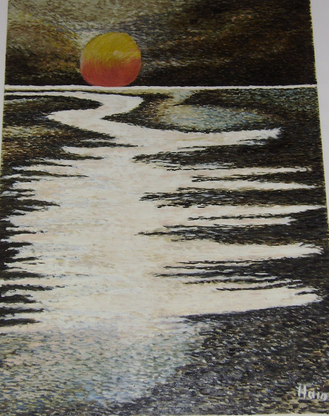 Licht, Mondaufgang, Watt und wattwuermer, Ölmalerei, Ebbe, Malerei