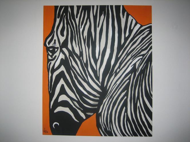Streifen, Zebra, Orange, Malerei, Tiere