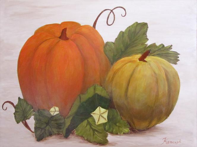 Kürbisse, Herbst, Acrylmalerei, Malerei, Stillleben