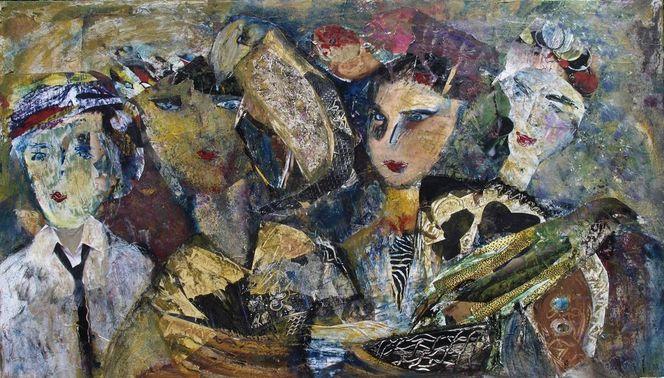 Drei gefiederte freunde, Vier frauen, Malerei, Menschen