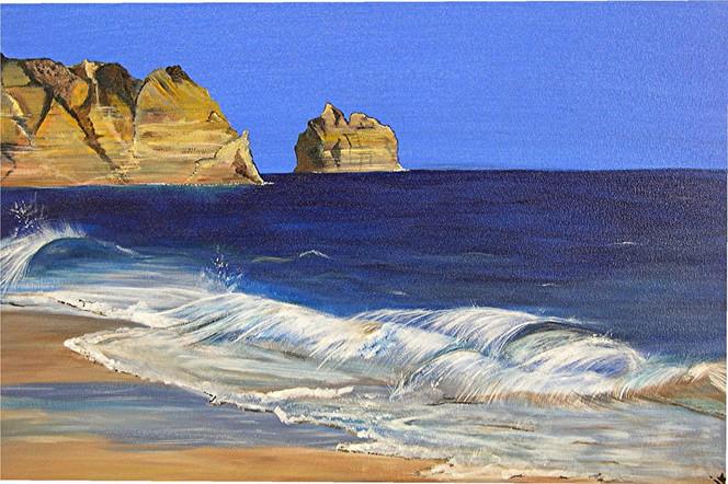 Welle, Blau, Meer, Strand, Felsen, Malerei