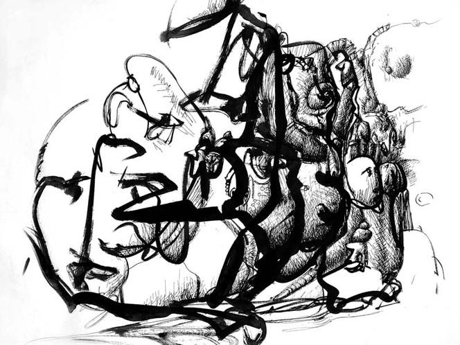 Tusche, Wahrnehmung, Feder, Abstrakt, Zeichnung, Pinsel