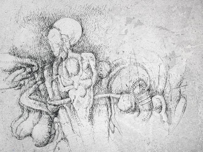 Federzeichnung, Selbstüberwindung, Stunde, Zeichnungen, Surreal