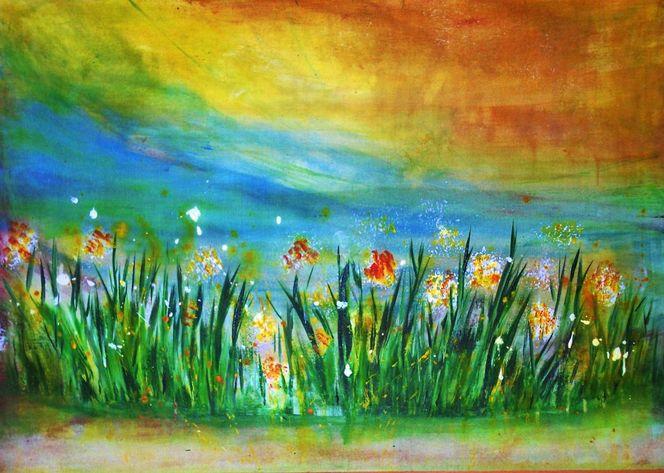 Abstrakt, Wiese, Gelb, Sonne, Natur, Gras