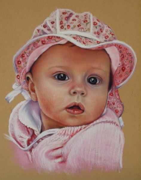 Pastellmalerei, Kind, Mädchen, Portrait, Kinderportrait, Baby