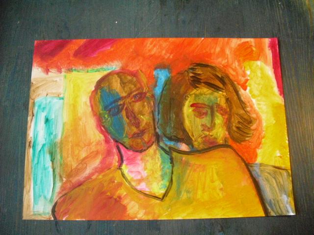 Ölmalerei, Figurative malerei, Malerei, Gedanken, Paar