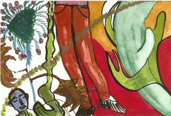 Surreale malerei, Pflanzen, Fantastisch figurale malerei, Aquarell, Umarmung