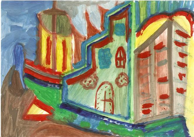 Stadtszene, Ölmalerei, Architektur, Malerei, Dorf