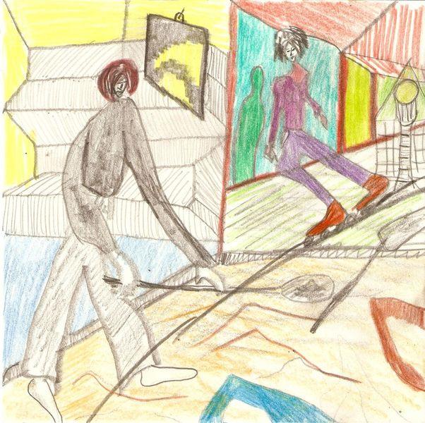 Buntstiftzeichnung, Frei figurative malerei, Bleistiftzeichnung, Zeichnungen