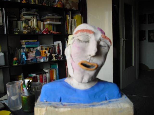 Kopf, Mann, Bemalte plastik, Farbiger kopf, Büste, Ton