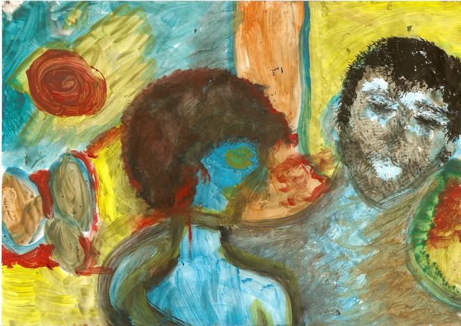 Figurativ, Ölmalerei, Malerei, Menschen, Frau, Mann