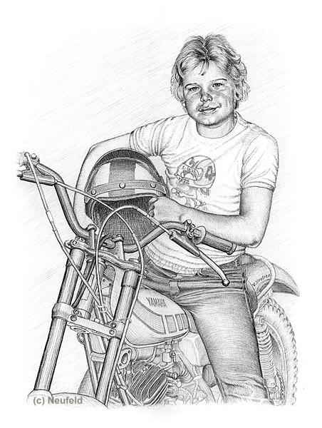Technik, Bleistiftzeichnung, Jugend, Rennen, Portrait, Schraffurtechnik