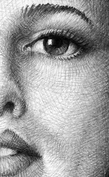 Grafik, Zeichnung, Portrait, Schraffurtechnik, Bleistiftzeichnung, Augen