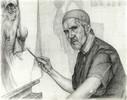 Portrait, Zeichnung, Elzer, Malerei