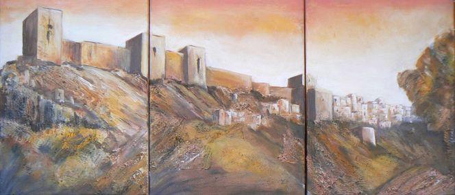 Andalusische stadt, Hitze, Heißer wüsetenwind, Acrylmalerei, Ausgedörrte landschaft, Maurische burg