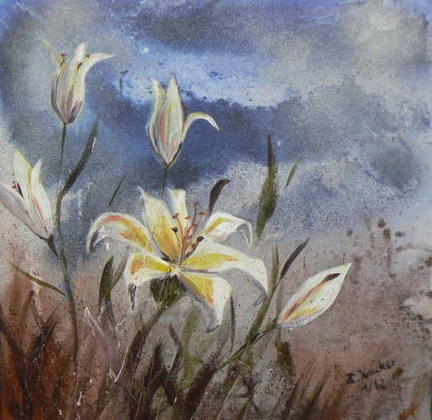Landschaft, Lilien, Blumen, Mischtechnik, Malerei