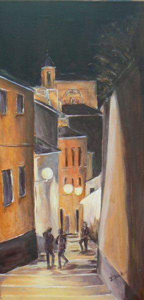 Gasse, Stadt, Granada, Südspanien, Nacht, Acrylmalerei