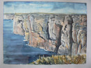 Küste, Felsen, Meer, Malerei